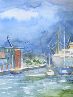Impressionen von der Hanse Sail | Warnowterrassen (c) Aquarell von FRank Koebsch