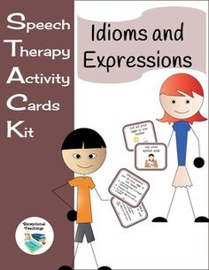 Speech Therapy Activity Cards Kit: Idioms and Expressions138 Different Idioms 1 Label Card & 5 Picture Cards Per Category