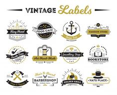 Image Details - Shops And Cafe Vintage Labels . Vintage labels of hotel shops and cafe including bookstore barber and design elements isolated vector illustration Logos Vintage, Vintage Cafe, Vintage Labels, Vintage Typography, Logo Café, Cafe Logo, Harlem Nights, Layout Banner, Logo Minimal