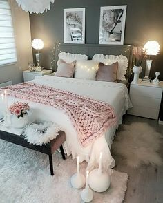 Neutral feminine girl's or teens room with gray walls and white bedding. Neutral feminine girl's or teens room with gray walls and white bedding. Romantic Master Bedroom, Master Bedroom Makeover, Cozy Bedroom, Trendy Bedroom, Home Decor Bedroom, Bedroom Ideas, Bedroom Curtains, Master Suite, Bedroom Furniture