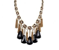 Black Beauty Necklace Me: like the concept and ALWAYS love black and gold together.