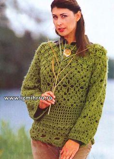 Зеленый пуловер с калейдоскопом узоров. Крючок