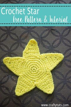 Crochet Star Pattern & Video Tutorial. How to crochet a star. Free crochet pattern. Maybe as applique, or coasters? Decorate a room with moon and stars. ♡♡