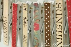decorating clothes pins for picture frames, using scrapbooking paper.