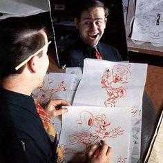 "elisemerand: "" RETRO - Great animators & mirrors ! 1- Irv Spence / 2- Woolie Reitherman / 3- Ollie Johnston / 4- Ken Harris / 5- Norm Ferguson / 6- Charles 'Nick' Nichols / 7- Fred Moore / 8- Carlo..."