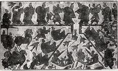 Recovering the tripod from the Si river, XIXème siècle, estampage, encre sur papier, 64,8 centimètres sur 208,3 centimètres, Metropolitan museum of art, NYC, 20.111.35