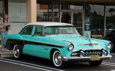"""1955 DeSoto Fireflite Coronado - white, turquoise & black - front For best viewing press """"L"""" Retro Cars, Vintage Cars, Antique Cars, Vintage Auto, Us Cars, Sport Cars, Desoto Cars, American Auto, Chrysler Imperial"""