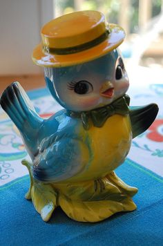 vintage Lefton blue bird bank   (I would love to one day start collecting the little 'bluebird' series, they are my FAV)