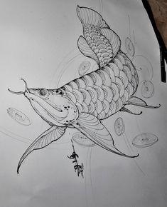 study for client's back piece. Carp Tattoo, Koi Fish Tattoo, Koi Tattoo Design, Dragon Fish, Dove Tattoos, Dibujos Tattoo, Graffiti Doodles, Sea Life Art, Japan Tattoo