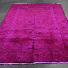 6x9 Overdyed Hot Pink Persian Semi Antique Rug woh-2650