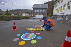 PLAYFORM - Playground marking games for kids, Company logos and Street decorations Playground Games, Outdoor Playground, Asphalt Games, Road Markings, Parking Signs, Yard Games, Educational Games, Outdoor Games, Games For Kids