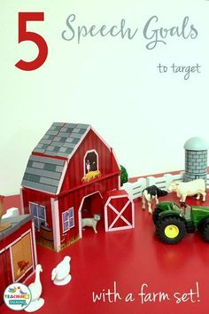 Target 5 speech goals with a farm set. Farm-themed speech therapy activities for early language development. Ideal for preschool!