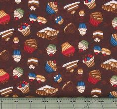 Tossed Sweet Treats on Brown Cotton Quilt Fabric, Coffee Escapes Collection, Henry Glass Fabrics, Fat Quarter, Yardage, HEG8847-38 by fabric406 on Etsy