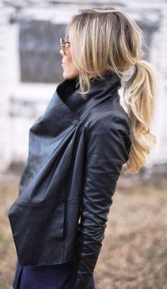 Beautiful waterfall black leather jacket | FASHION WINDOW