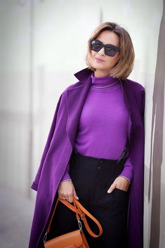 Purple Pants Outfit, Burgundy Outfit, Sporty Outfits, Fall Outfits, Fashion Outfits, Womens Fashion, Purple Fashion, Colorful Fashion, Look Blazer