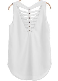 Best 12 Shop White V Neck Sleeveless Hollow Bead Vest online. SheIn offers White V Neck Sleeveless Hollow Bead Vest & more to fit your fashionable needs. Casual Outfits, Fashion Outfits, Womens Fashion, Tent Dress, Stylish Tops, Dress Sewing Patterns, White V Necks, Short Tops, White Shop