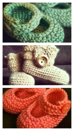 Gorgeous baby crochet Uggs courtesy of free pattern at http://imtopsyturvy.com/crochet-wrap-button-baby-boots-girls-boys/ and knitted Baby Jane booties from free pattern found on www.RedHeart.com