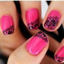 hot pink lace nails
