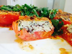 Stuffed Tomatoes with crab meat and ground chicken. Healthy and delicious.