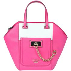 Guess Bicoloured Eco-Leather Bag ($73) ❤ liked on Polyvore featuring bags, handbags, zip bags, top handle bag, metallic handbags, top handle handbags and chain bag