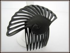 Art Deco Hair Comb Black Lucite Large Hair by VintagObsessions