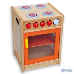 Mi Cocina Andreu Toys - Ref. 16306 Una cocina de construcción sólida con 4 fuegos, 4 mandos y horno con puerta transparente. Muy apta para el uso intensivo de los niños. Medidas: 40 x 36 x 54 cm