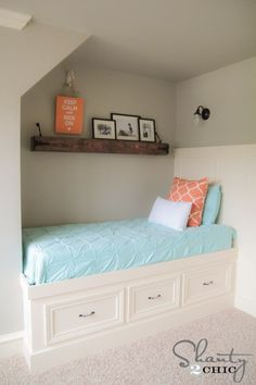 A detailed step-by-step tutorial from Shanty 2 Chic that shows you can you make an amazing DIY built-in storage bed at home. Diy Storage Bed, Built In Storage, Loft Storage, Kids Storage Beds, Storage Ideas, Bedroom Storage, Built In Daybed, Bed Bench, Shanty 2 Chic