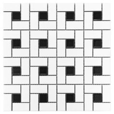 <p>This 12in. x 12in. White and Black Pinwheel Porcelain Mosaic has a contemporary finish.</p><p>Porcelain tiles are strong and long-lasting making them ideal for use in high-traffic or outdoor living areas. Porcelain is an excellent choice to decorate your walls or floors and comes in a variety of colors sizes and textures. With proper installation porcelain tiles can last for years with very little maintenance.</p>