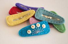 FREE SHIPPING - Modern Bean Felt Hair Clip - Turquoise Peacock - Baby Hair Clip, Toddler Hair Clip, Big Girl Hair Clip