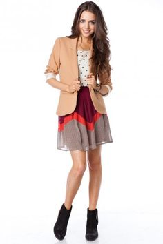 such a cute fall look! Pattern mixing, blazer and booties