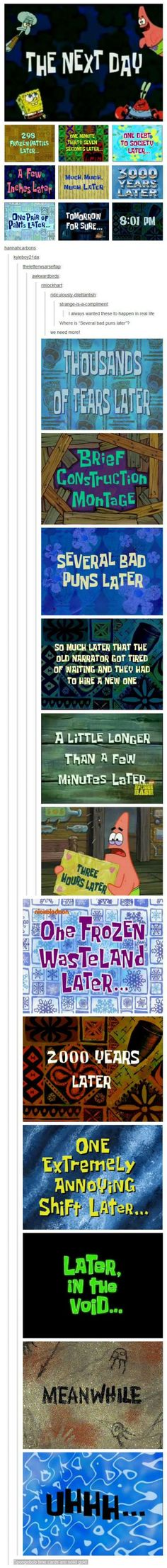 "Spongebob time cards are the best. But! The all important ""One Eternity Later"" card is missing! (Favorite Meme Guys)"