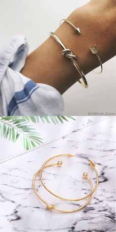 Cheap Unique Design Golden Arrow Knotted Two Set Open Bracelet For Big Sale!Unique Design Golden Arrow Knotted Two Set Open Bracelet Summer Accessories, Wedding Accessories, Jewelry Accessories, Fashion Accessories, Cute Bracelets, Layered Bracelets, Fashion Bracelets, Arrow Bracelet, Gold Plated Bracelets