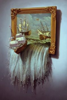 Painting coming to life, realistic water coming from the frame and spilling down the wall.