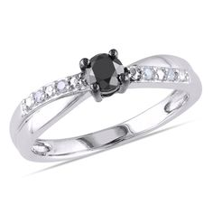 1/3 CT. T.W. Enhanced Black and White Diamond Engagement Ring in Sterling Silver - View All Rings - Zales