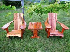 Two Red Cedar Adirondack Chairs and Table  Hand by Ozark Rustic Wood