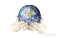 Hands Holding Planet Earth Globe, White Background Art Print