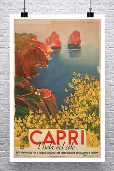 Winter in Italy Umbrella 1950s Vintage Style Travel Poster 16x24