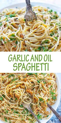 Garlic and Oil Spaghetti recipe is the perfect dinner recipe. Using simple ingredients with an easy to make recipe, you will add it to your meal plan and cook again and again. Skip the meatballs and opt for Garlic Spaghetti tonight! #easyrecipe #spaghettirecipes @sweetcaramelsunday Best Pasta Recipes, Spaghetti Recipes, Lunch Recipes, Easy Dinner Recipes, Easy Meals, Delicious Recipes, Sweets Recipes, Sunday Recipes, Amazing Recipes