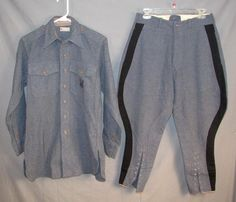 Vintage WWII 1940s US Navy Wool Riding Uniform Motorcycle Shirt Jodphur Pants
