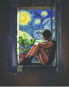 """Girl at the Window"" painting by Salvador Dali And Van Gogh Starry Night Art Inspo, Kunst Inspo, Art And Illustration, Landscape Illustration, Portraits Illustrés, Pop Art, Art Du Collage, Van Gogh Art, Psychedelic Art"