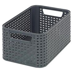TOTE BASKET CURVER PLASTIC BLACK RECTANGLE SMALL