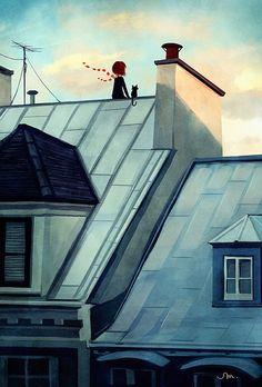 Rooftops: Digital illustration by Sarah Marino #illustration #girl #cat
