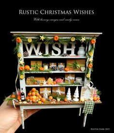 SALE was 799.99 now £549.99 - Warmest Winter Wishes - Rustic primitive cabinet display..  This fine piece comes with handmade candles, set in