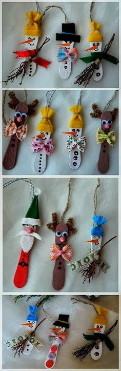 NAVIDADES - Make quick and easy ornaments out of mini wooden ice cream sticks, tongue depressors or popsicle sticks. So fun & easy for the kids Christmas Activities, Christmas Crafts For Kids, Christmas Projects, All Things Christmas, Holiday Crafts, Holiday Fun, Christmas Decorations, Stick Decorations, Christmas Ideas