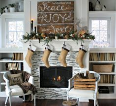 The stockings were hung - gorgeous mantel...holiday style