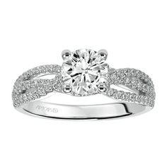 Diamond engagement ring with triple strand diamond shank. Style: Marybeth #ArtCarvedBridal