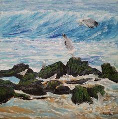 original oil painting seagulls coastal beach seagull birds bird ocean rocks waves sand sea shore nature wall home decor canvas seascape art