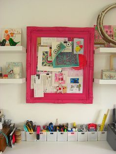 Pink framed inspiration board.