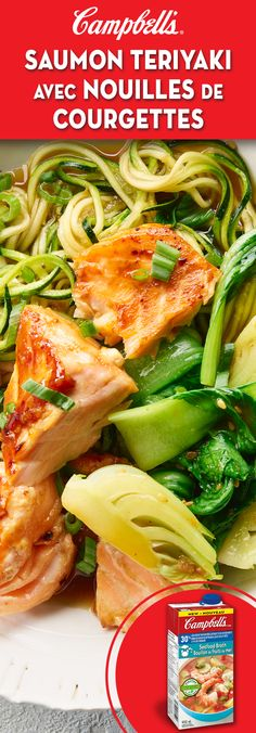 Teriyaki Salmon with Zucchini Noodles Recipe Campbells Teriyaki Salmon with Zucchini Noodles Zucchini Noodle Recipes, Salmon Recipes, Fish Recipes, Seafood Recipes, Vegetarian Recipes, Chicken Recipes, Cooking Recipes, Healthy Recipes, Zucchini Noodles