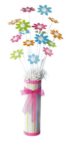 These little paper flowers would make a great baby shower centerpiece or favor!